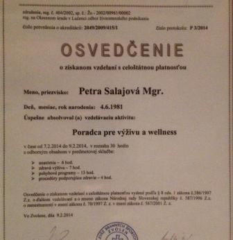 Akreditovaný výživový poradca Salajová